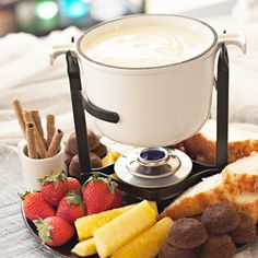 This super-sweet white chocolate fondue is meant for dipping. Pound cake or fruit chunks make tasty dippers.