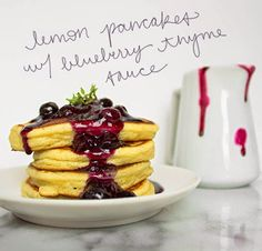 Gluten Free Blondie: Recipe: Fluffy Lemon-Buttermilk Pancakes with Blueberry-Thyme Sauce
