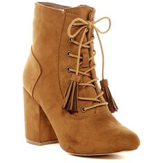 Nature Breeze Elite Lace-Up Boot ($30) ❤ liked on Polyvore featuring shoes, boots, ankle boots, tan, tan booties, high heel ankle boots, lace up boots and faux suede lace-up booties