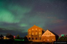 Northern lights over the Quincy Hoist and Boiler House. This south facing shot shows how much of the sky was lit with northern lights from the June 07 showing.