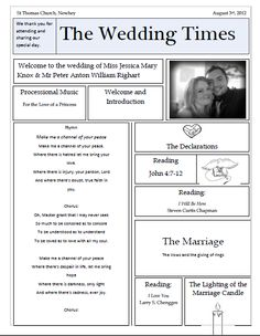 wedding newspaper template