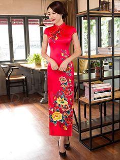 Dresswe.com SUPPLIES Fancy Vintage Red Short Sleeves Printing Column Side Split Oriental Cheongsam Dress Cheongsam Dresses