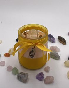 Unique Witchy Crystal Candle - fall decor Halloween -12 oz Pumpkin Apple scented crystal manifestation candle dressed with a Citrine Stone. Citrine Metaphysical Properties: ✨Promotes motivation ✨Activates creativity ✨Encourages self-expression. ✨Enhances concentration and revitalises the mind. ✨Releases negative traits, depression, fears and phobias.