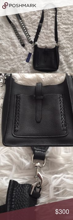 Rebecca Minkoff leather  Bag , braided stitching Brand new with tags Rebecca Minkoff leather unlined with braided stitching. Imported cowhide. Can wear this bag on shoulder or as a cross body.  This bag has two straps one solid black with buckle, and one with mirrored glass pearls and stitching. Very unique strap. Ask me about price if only wanting one or the other strap.  No trades please Rebecca Minkoff Bags Shoulder Bags