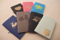 Set of Three Assorted Pocket Notebooks: Mix and Match Embossed Small Notebooks Cahier. $13.95, via Etsy.