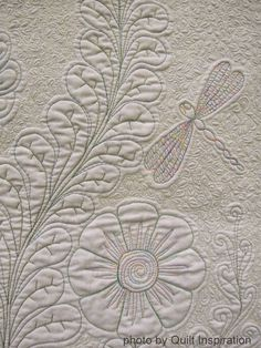 Whole cloth quilts, done in icy white or pale pastels, remind us of winter. Here is the second part of our series. Capturing the texture o. Quilting Stencils, Longarm Quilting, Machine Quilting Patterns, Quilt Patterns, Quilting Ideas, Whole Cloth Quilts, Quilted Gifts, Baby Girl Quilts, Custom Quilts