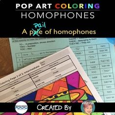 Free Homophones Coloring Sheets - Fun Summer Activity by Art with Jenny K Teaching Vocabulary, Grammar Activities, Primary Teaching, Teaching Language Arts, Teaching English, Commonly Confused Words, Teachers Pay Teachers Freebies, Fun Summer Activities, Writing Words