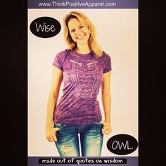 Think Positive Apparel designs made out of tiny positive words