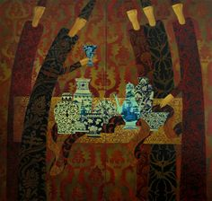 ARTZU Gallery: Blue Porcelain Diptych - capturing the mystery of Eastern promise in this exotic painting: http://www.artzu.co.uk/artist/timur-dvatz/blue-porcelain-diptych/