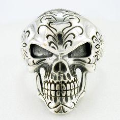 925 Silver Grim Reaper Pendant Necklace Thailand Jewelry Art Goth Skull A8