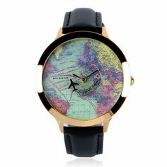 Amazon.com: ZLYC Women Fashion Vintage Retro World Map Faux Leather Round Face Wrist Watch Black: Clothing