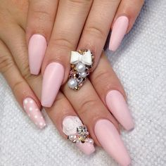 Matte baby pink coffin nails with 3d roses and bows