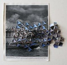 Abigail Reynolds Greenwich 1951 / 1984 2008 x 38 cm Cut and folded vintage bookplates Collage Making, Collage Art, Origami, Paper Weaving, Artistic Photography, Photography Sketchbook, Gcse Art, Abstract Drawings, Architecture Drawings