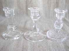 Glass Candlestick Collection / Eclectic Glass Candle Holder Trio / Clear Glass Candle Holders for Wedding or Home Decor