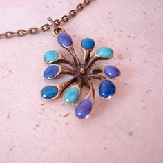 Dandelion Pendant Necklace Blue Sky Metallic Colors by lovetoclay, $20.00