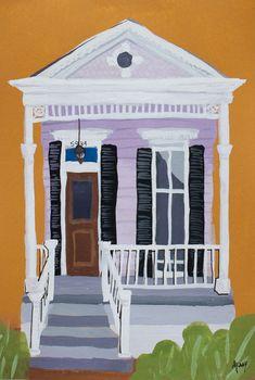 New Orleans Shotgun House No. 3 - Original Art by Amanda Kaay New Orleans Art, New Orleans Homes, House Colouring Pages, Shotgun House, Louisiana Art, Muse Art, Illustration Art, Illustrations, Found Art