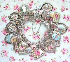 Vintage Sterling Silver Heart Charm Bracelet Guilloche Enamel Flowers Rose Cameo | eBay April 2014 Design! OOAK! Summer Spring Jewelry Handmade with Love Shabby Chic