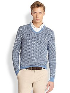 Canali Triangle Print V-Neck Sweater