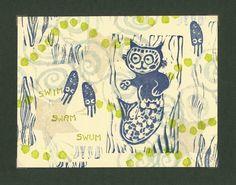 Swim Swam Swum Super Mermaid Cat Original Linocut by craftyhag, $20.00