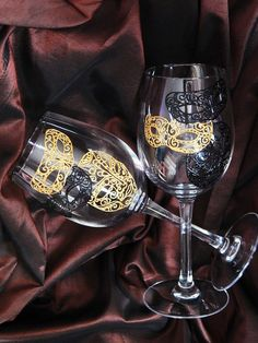 Wedding wine glasses Black and gold mask by StainedGlassHandmade