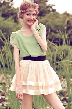 oasap double layer skirt