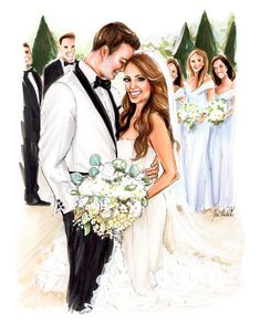 Bridal Portraits by Jen 🌿🌸 Loved illustrating this stunning couple! Featuring beauty in her dress! Wedding Illustration, Couple Illustration, Cute Couple Art, Cute Couples, Wedding Art, Wedding Simple, Bridal Portraits, Wedding Attire, Bridal Gowns