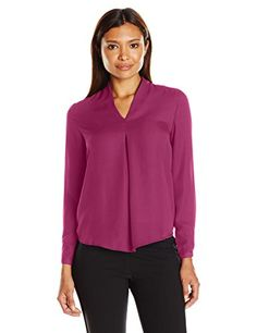 NY Collection Women's Long Sleeve Solid Inverted Pleat Blouse, Purple Potion, XL