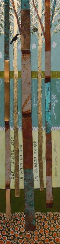 "Diana Wood ""SEASONS CHANGE- SPRING"" - 48"" X 12""- Found metals, gold leaf, oil on wood-"