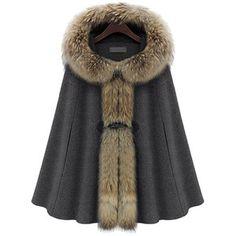 Racoon Fur Collar Wool Cape Coat Gray$139