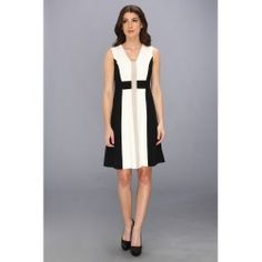 Calvin Klein - V-Neck Lux Colorblock Dress (Cream Multi) - Apparel - product - Product Review