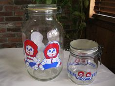 Raggedy Ann Canister Jars Set Of Two,   $18.50  For sale now on Etsy