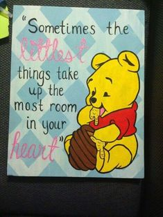 Bastelprojekte Winnie the Pooh Leinwand Custom Kitchen Cabinets. Disney Canvas Paintings, Disney Canvas Art, Canvas Painting Quotes, Easy Canvas Painting, Mini Canvas Art, Cute Paintings, Diy Painting, Quote Canvas, Canvas Crafts