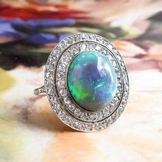 Natural Solid Australian Blue and Green Opal & Double Diamond Halo t. Halo Diamond, Diamond Cuts, Halo 6, Double Halo Rings, Australian Black Opal, Green Opal, Opal Jewelry, Jewellery, Platinum Ring
