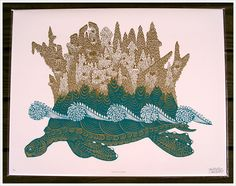 reminds me of Paperhand Puppet Intervention - woodcut from Tugboat Printshop