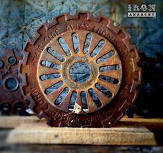 Antique Decorative Cast Iron Pop Corn Pulley Wheel Sculpture,  (stand for gear wheel)