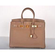 Hermes Etoupe Togo 35cm Birkin Bag Gold Hardware  #porteropintowin