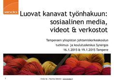 Luovat kanavat työnhakuun: sosiaalinen media, videot & verkostot Tampereen yliopisto Johtamiskorkeakoulu Tutkimus- ja koulutuskeskus Synergos 16.1.2015 ja 19.1…