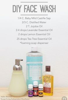 Face washes are one of the best things to DIY. Avoid all those harsh chemicals and be good to your face instead. Essential Oils For Face, Tea Tree Essential Oil, Lemon Essential Oils, Young Living Essential Oils, Essential Oil Blends, Oil Face Wash, Body Wash, Homemade Face Wash, Young Living Oils