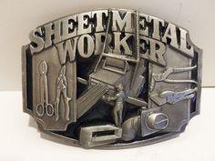 Vintage 1991 Sheet Metal Worker Siskiyou Enameled Belt Buckle USA