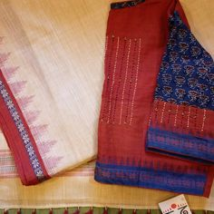 Ponduru Khadi Saree paired with a Khadi-Ajrak Hand Embroidered Blouse from Spatika Clothing. DM for price. We ship Worldwide! Simple Blouse Designs, Stylish Blouse Design, Cotton Saree Blouse Designs, Khadi Saree, Designer Blouse Patterns, Embroidered Blouse, Ship, Pakistani Outfits, Cotton Silk
