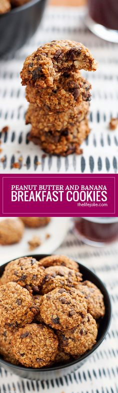 These Peanut Butter and Banana Breakfast Cookies are a healthy and delicious grab-and-go breakfast option. They're seriously so easy to make without any flour or added sugar. These are the best, guilt-free way to start your day and are great for kids as well!