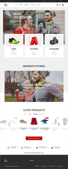 Mrbara is clean, stylish and modern design responsive 1 & 2 theme for stunning shop website with 9 niche homepage layouts to live Magento Design, Ecommerce Web Design, Sports Party Favors, Amazing Website Designs, Sports Website, All Themes, Web Design Inspiration, Modern Design, Clean Design