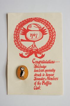 Puffin Club founder members badge by Phil Baines, via Flickr