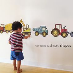 Construction Vehicle Peel and Stick Reusable Wall Stickers. Use your walls and our Peel & Stick Wall Stickers as a learning tool! Each construction vehicle is its own sticker that your child can peel off and stick to the wall. Reusable Wall Stickers, Boys Wall Stickers, Wall Decals, Customized Stickers, Toddler Boy Room Decor, Boys Room Decor, Baby Boy Rooms, Kids Room, Child Room