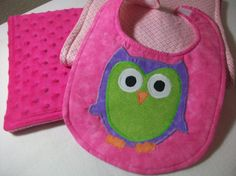 Owl Bib and Burp cloth Set For Baby Girl Baby by PeaPodLilFrogs, $25.00