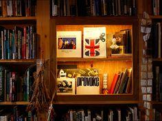 本棚の中の飾り棚、照明付き  飯沢耕太郎さん秘蔵写真集のコーナー Liquor Cabinet, Bookcase, Shelves, Storage, Furniture, Home Decor, Purse Storage, Shelving, Decoration Home