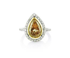 An White and Rose Gold Fancy Pinkish Brown Diamond Halo Ring Halo Diamond, Diamond Rings, Diamond Engagement Rings, Halo Rings, Vintage Rings, Colored Diamonds, Jewelry Collection, Rose Gold, Fancy