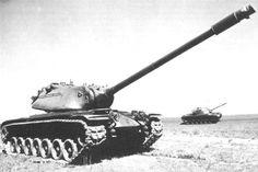T43E1 (future M103 Heavy Tank) and T48 (future M48 Patton) during trials