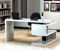 Stunning modern home office desks with unique white glossy desk plus open bookshelf with black chair and chic rug