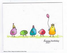 The Daley Stamper: Birthday Doodle Birds with a Link to a Cute . - The Daley Stamper: Birthday Doodle Birds with a Link to a Cute Tutorial … - Bird Doodle, Doodle Art, Doodle Frames, Watercolor Birthday Cards, Hand Drawn Cards, Card Drawing, Paint Cards, Bird Cards, Happy Birthday Cards